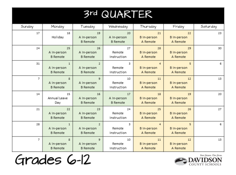 Quarter Three Calendar