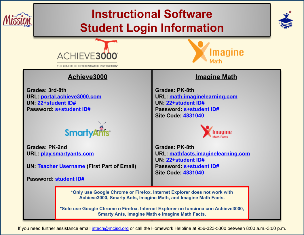 Instructional Software Login Information