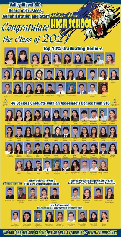 Valley View 2021 Top 10%, Associates Degree & Certification Graduates Thumbnail Image