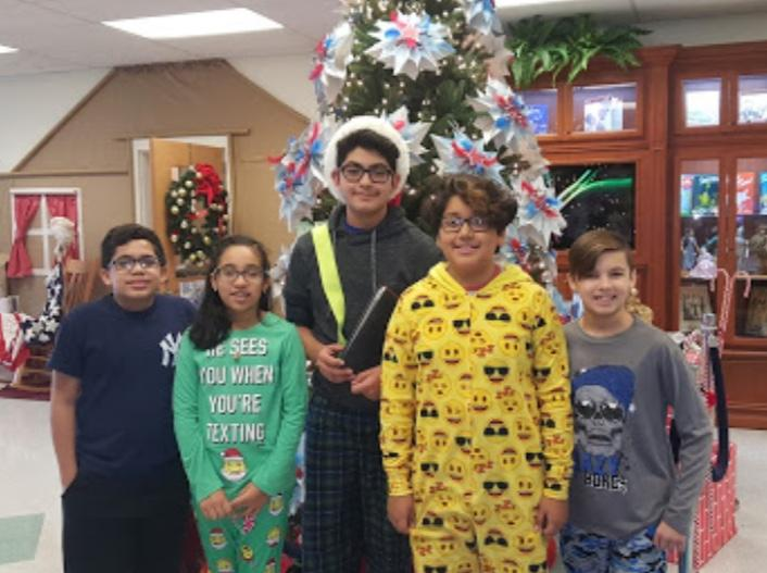 Andrew Vega and 5th Grade Classmate Christmas 2017