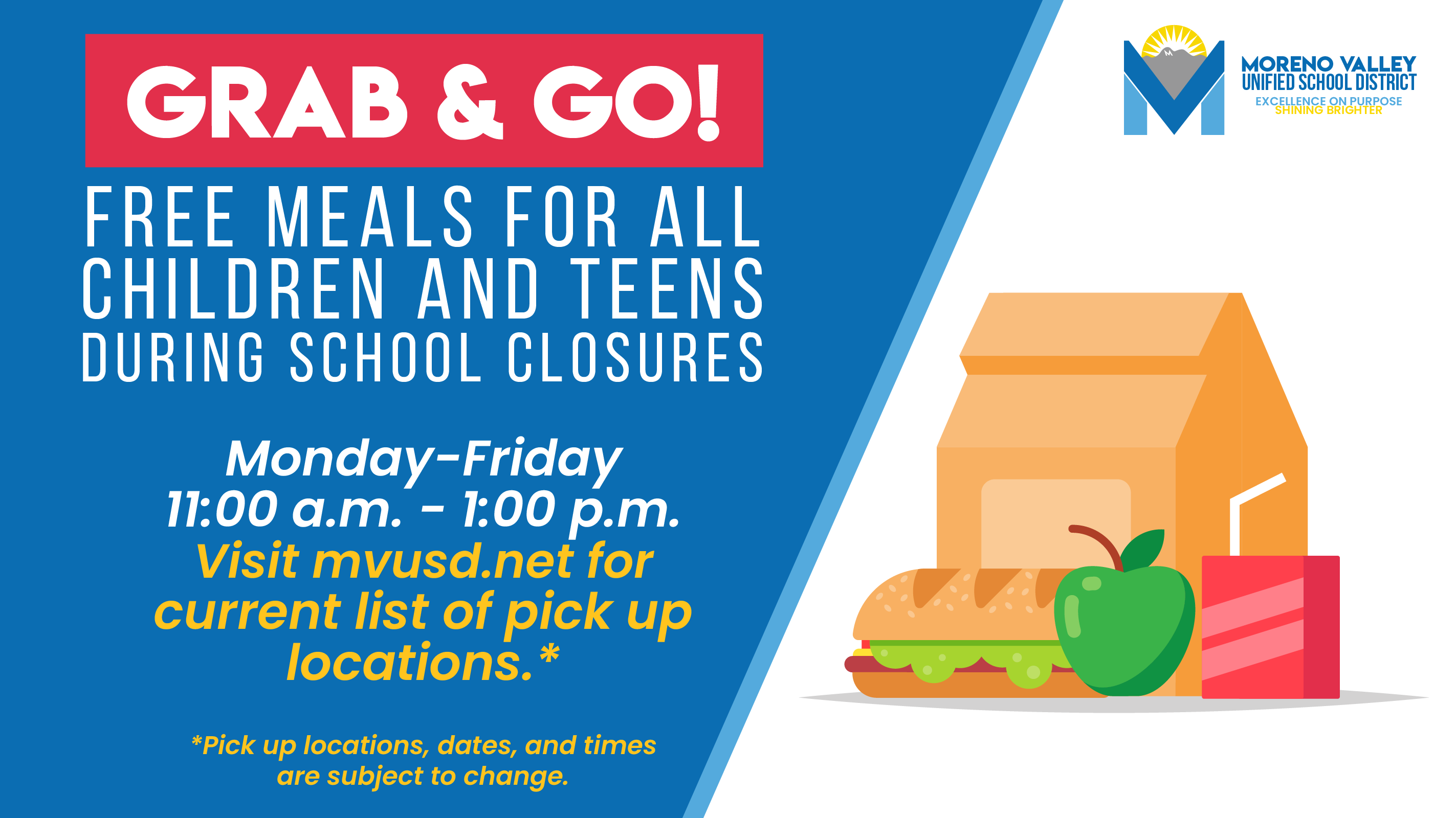 Grab & Go free lunch meals