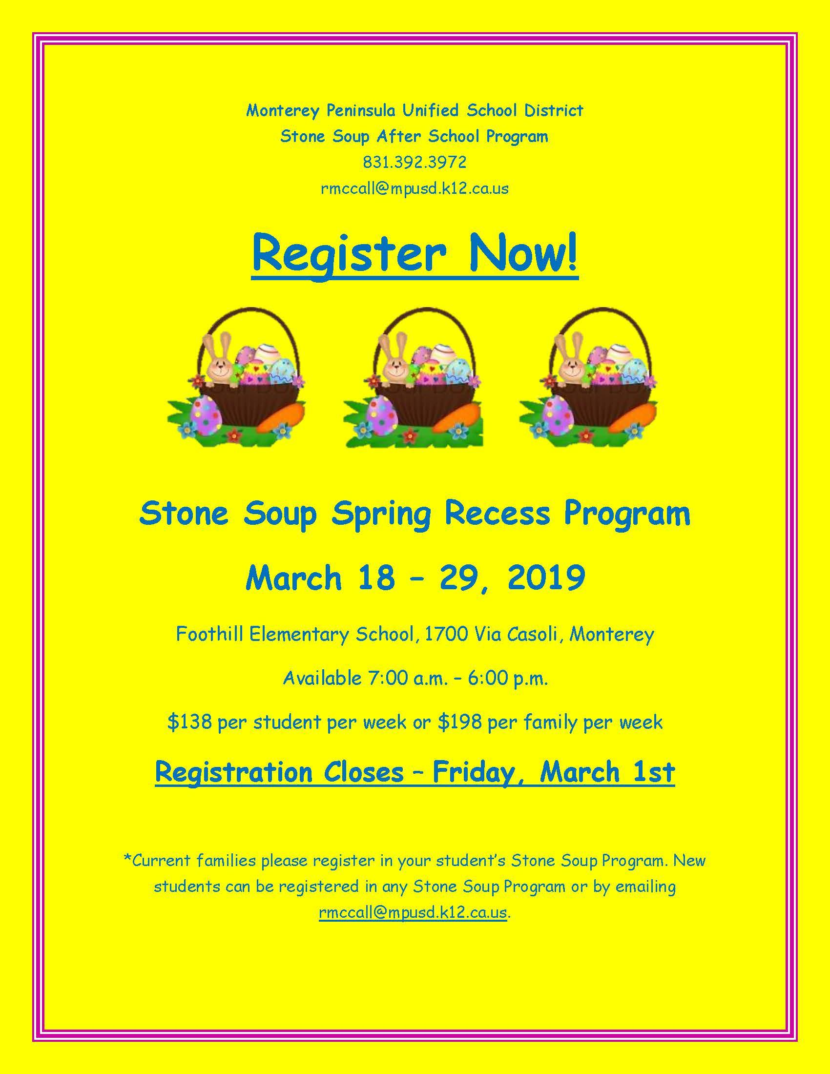 Stone Soup offers a spring break program for students.