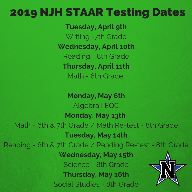 2019 NJH STAAR Testing Featured Photo