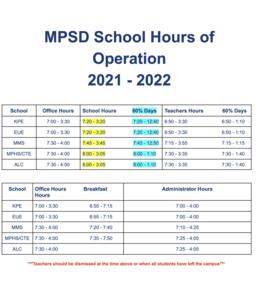 2021 School Start Times
