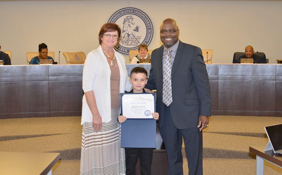 Kaiden Aven April Student o the Month