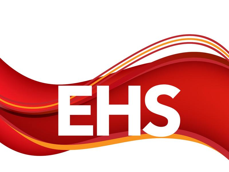 EHS logo with crimson and light cold wave design