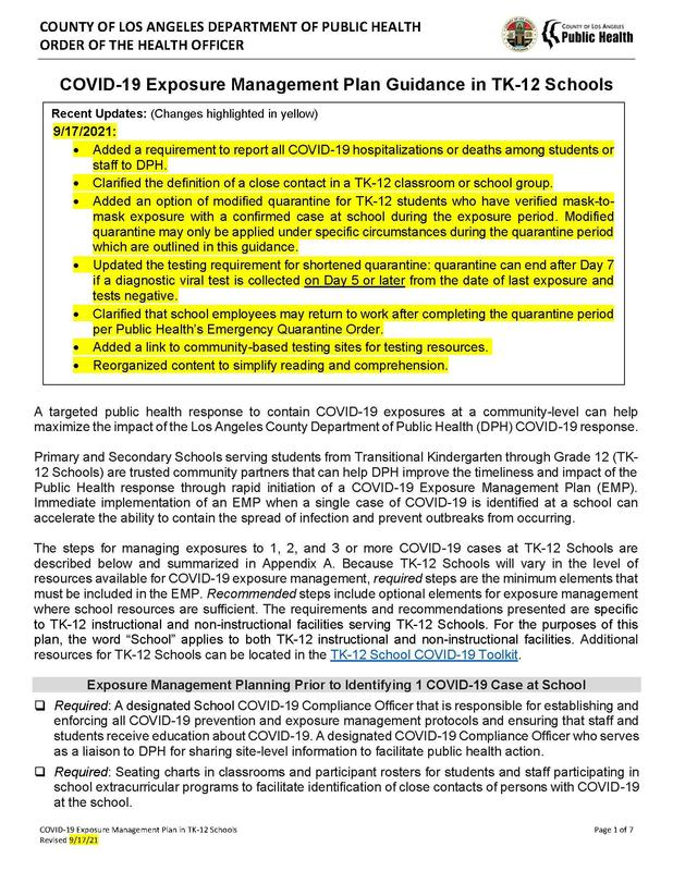 COVID-19 Exposure Management Plan Guidance in TK-12 Schools