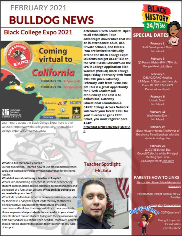 February 2021 Newsletter / Boletin de Noticias para Febrero 2021
