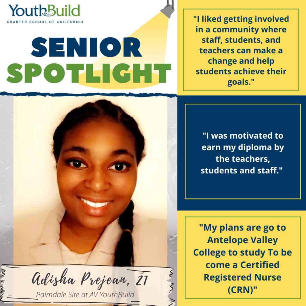 Senior Spotlight for graduate Adisha Prejean