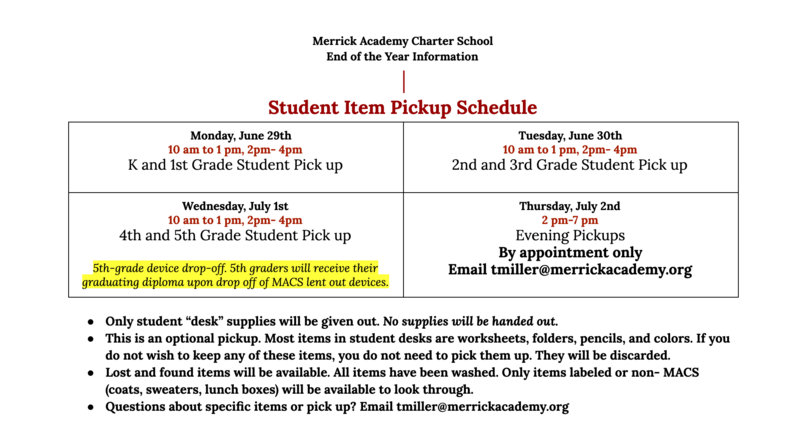 Student Supplies- Pick Up Schedule