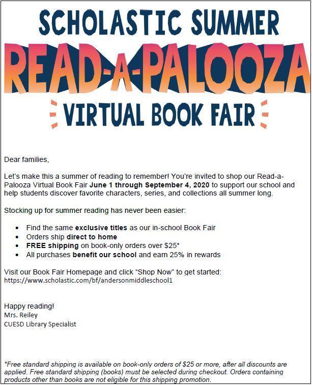 scholastic summer virtual book fair sheet page