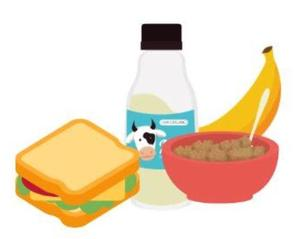 Image of a sandwich, milk, cereal, and a banana.