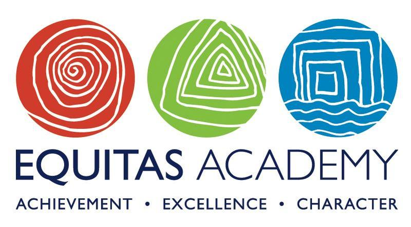 Equitas logo with red cricle, green circle and blue circle with shapes
