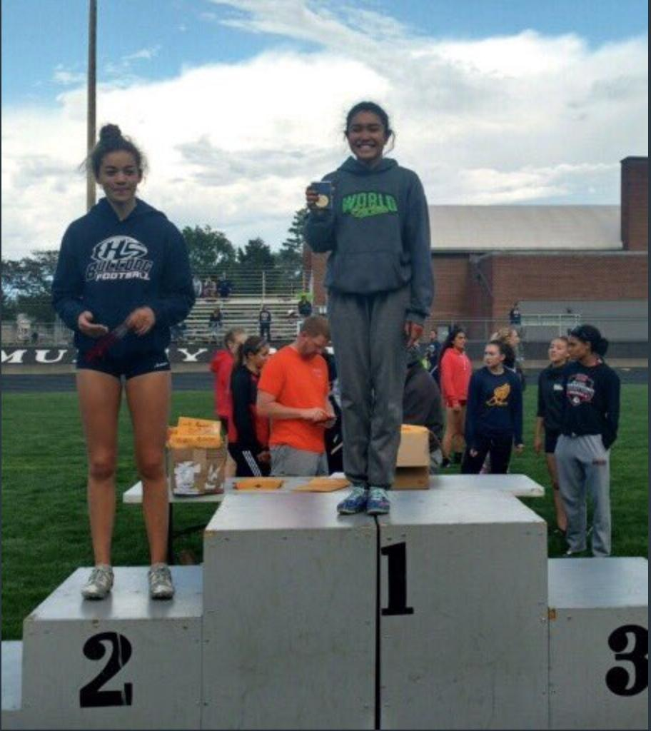 JoJeAnn wins District Title for Long Jump.