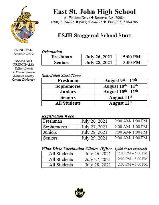 East St. John 2021 Student Registration Thumbnail Image