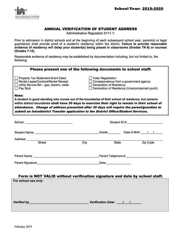 2019-2020 Address Verification / 2019-2020 Formulario de Verificación de Domicilio Featured Photo