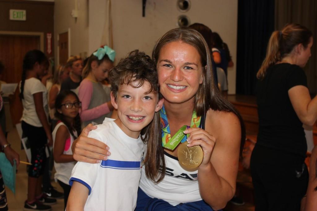 Olympic Medalist Kylie Neushul visits Washington Elementary