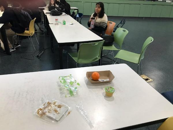 Trash on table in Great Room!