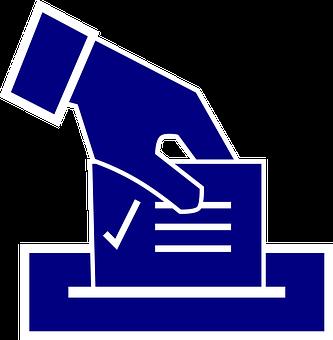 Clip art. Hand dropping a ballot into a box.