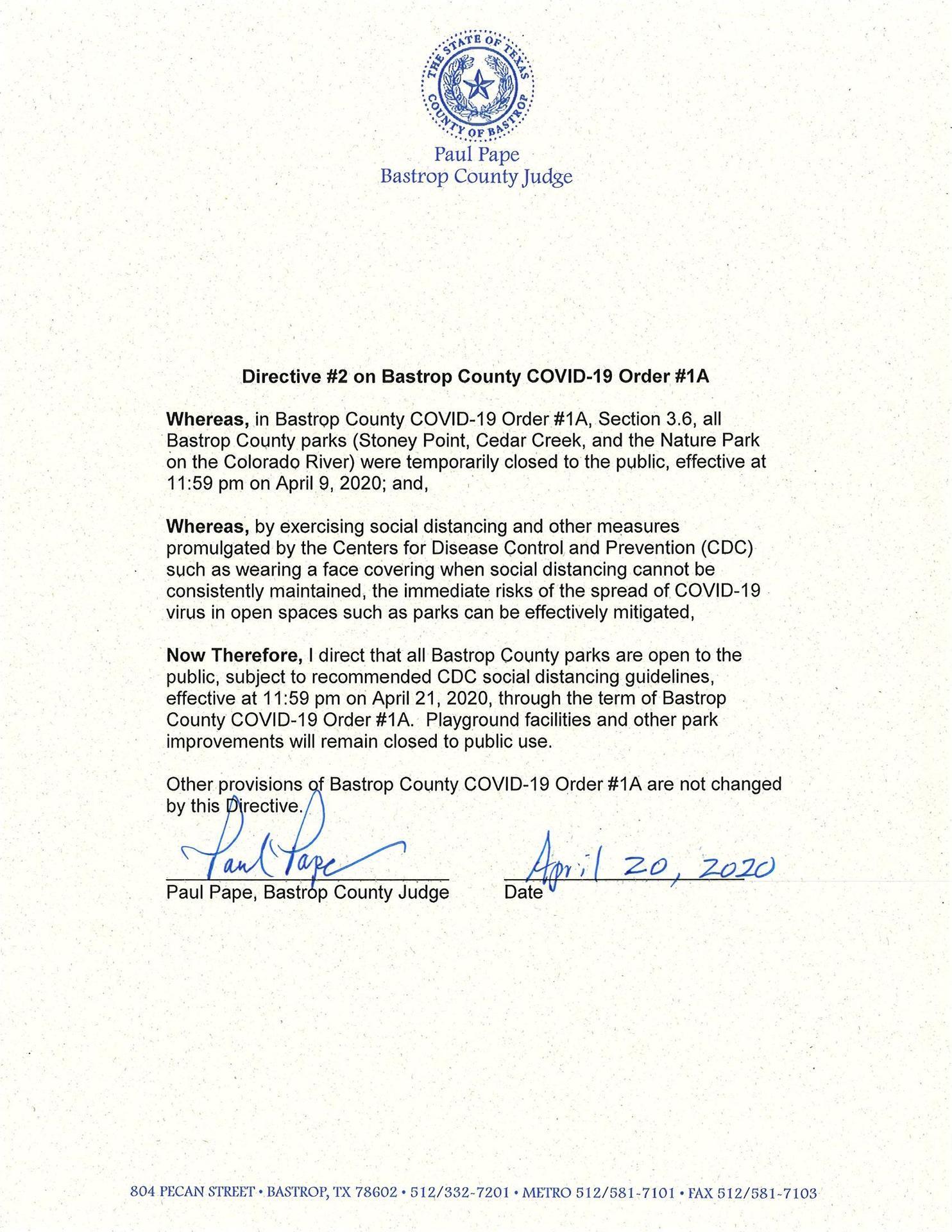 Bastrop County Order #2
