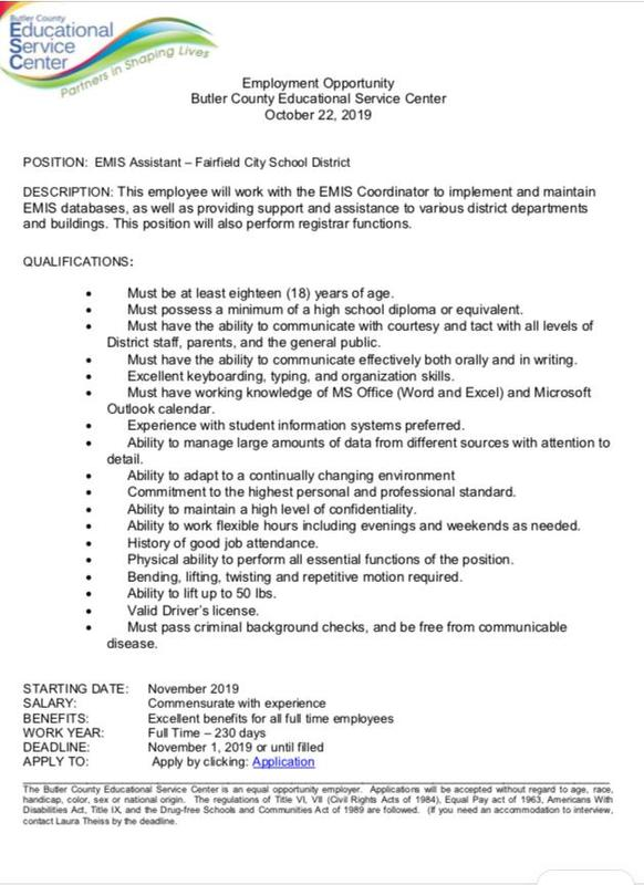 Butler Counry ESC Hiring EMIS Assistant for FCSD Featured Photo