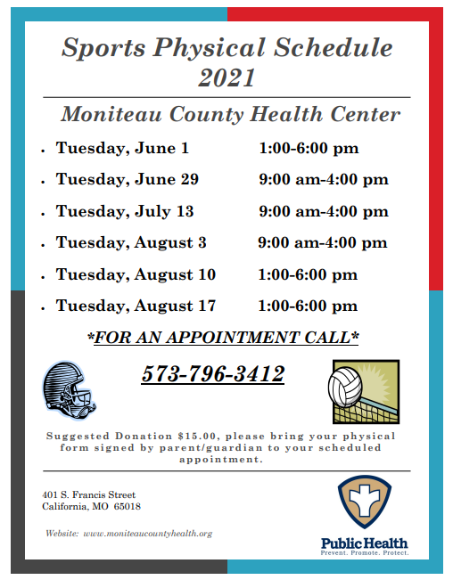 Sports Physical Schedule for Moniteau County Health Center Thumbnail Image