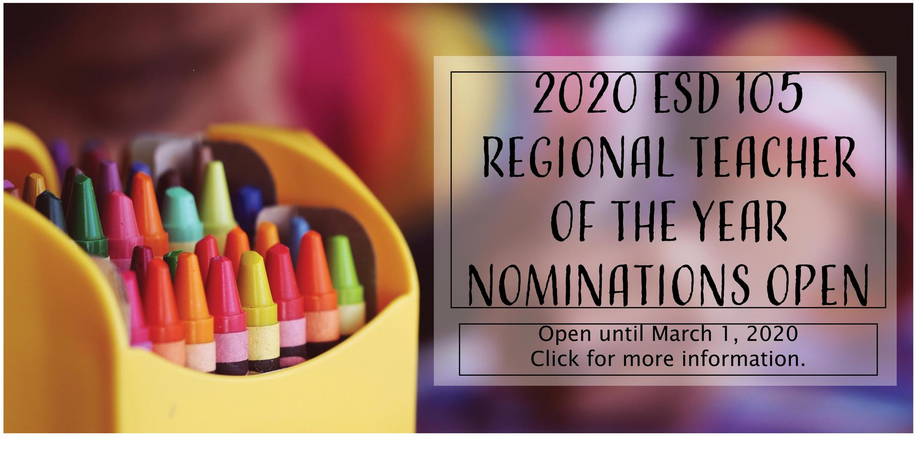Information on 2020 nominations for teacher of the year.