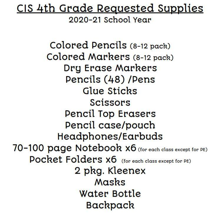 4th Gr Supply List