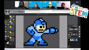 Blue Piskel character showing on zoom