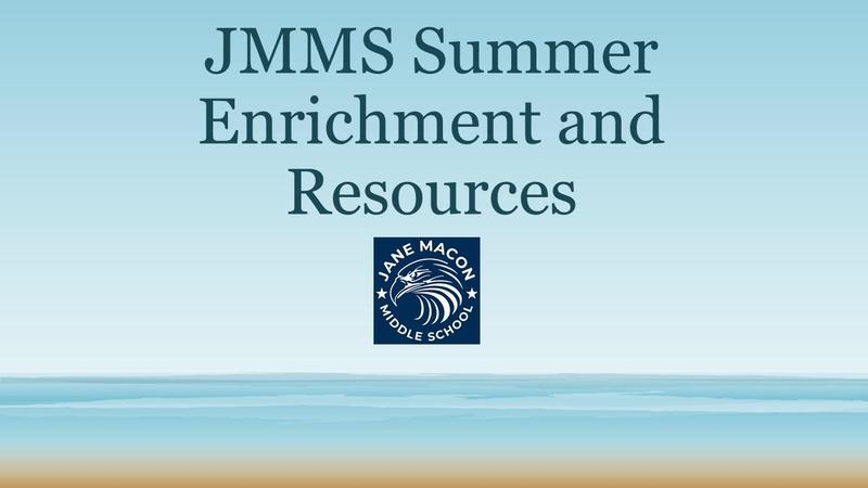 JMMS Summer Enrichment and Resources w/ JMMS Eagle Head on a beach background