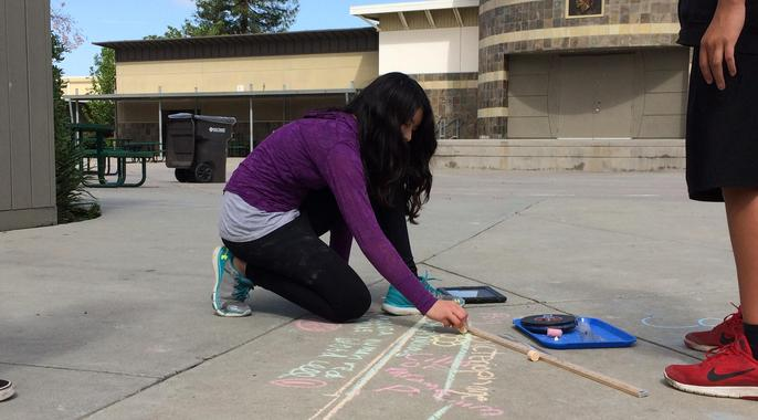 student studying science on sidewalk