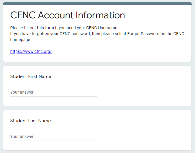 CFNC Username Recovery