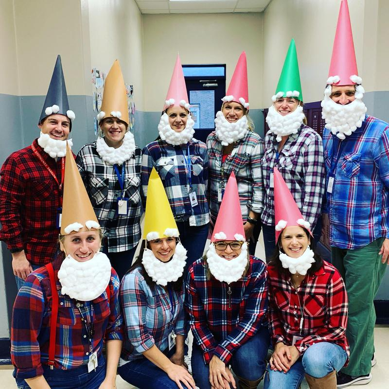 Photo of RIS staffers dressed as gnomes for Halloween.