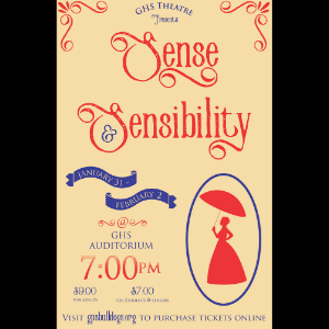 Sense and Sensibility poster with woman walking under umbrella