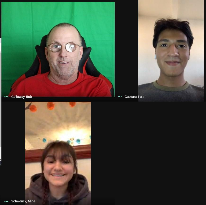 Mr Galloway, Luis Guevara and Mina Schwenck meeting  to post Facetime Friday photos