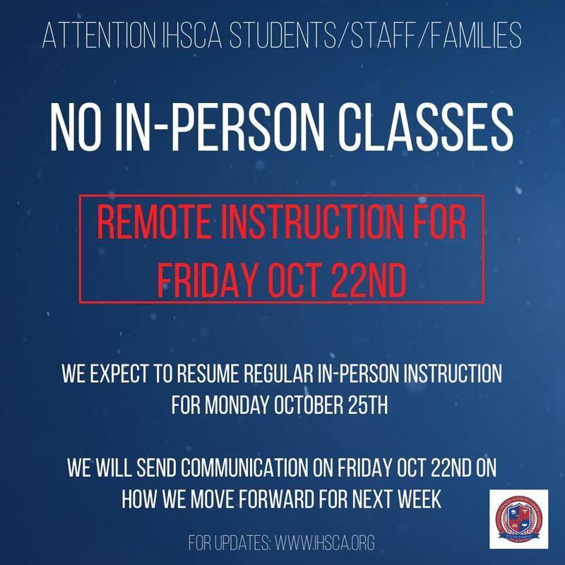 NO IN-PERSON INSTRUCTION FRIDAY OCTOBER 22nd Featured Photo