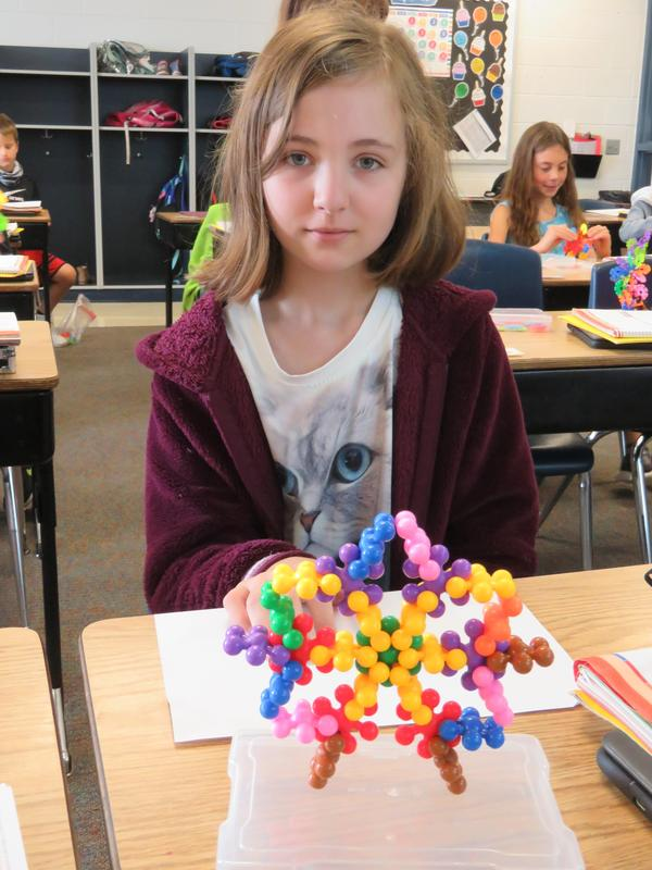 This student used building pieces to create a star.
