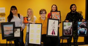 CHS students with their art