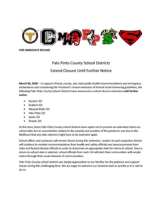 Palo Pinto County School Districts Extend Closure Until Further Notice