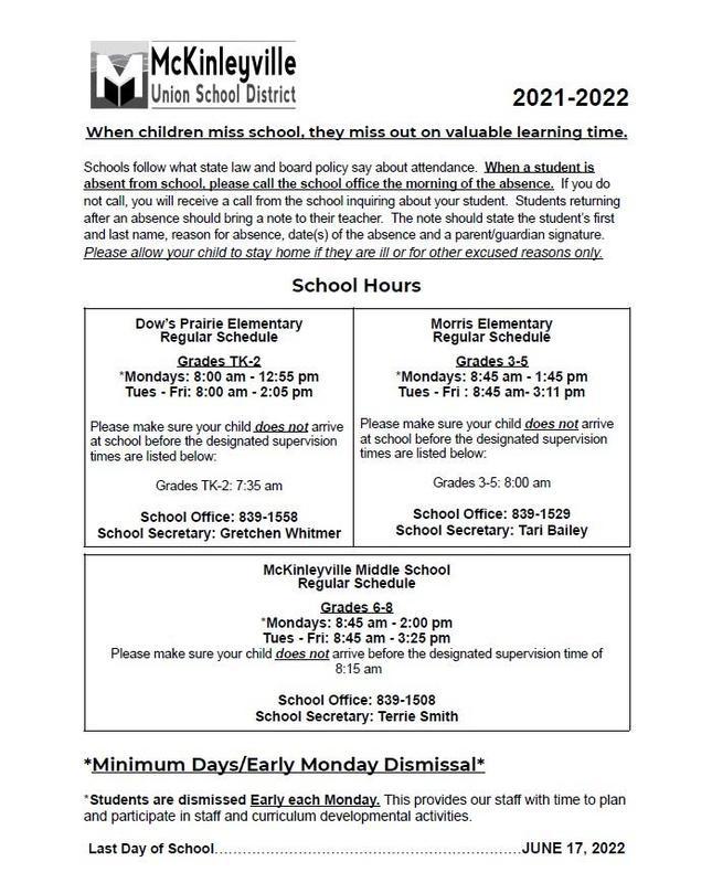 2021-2022 Academic School Hours