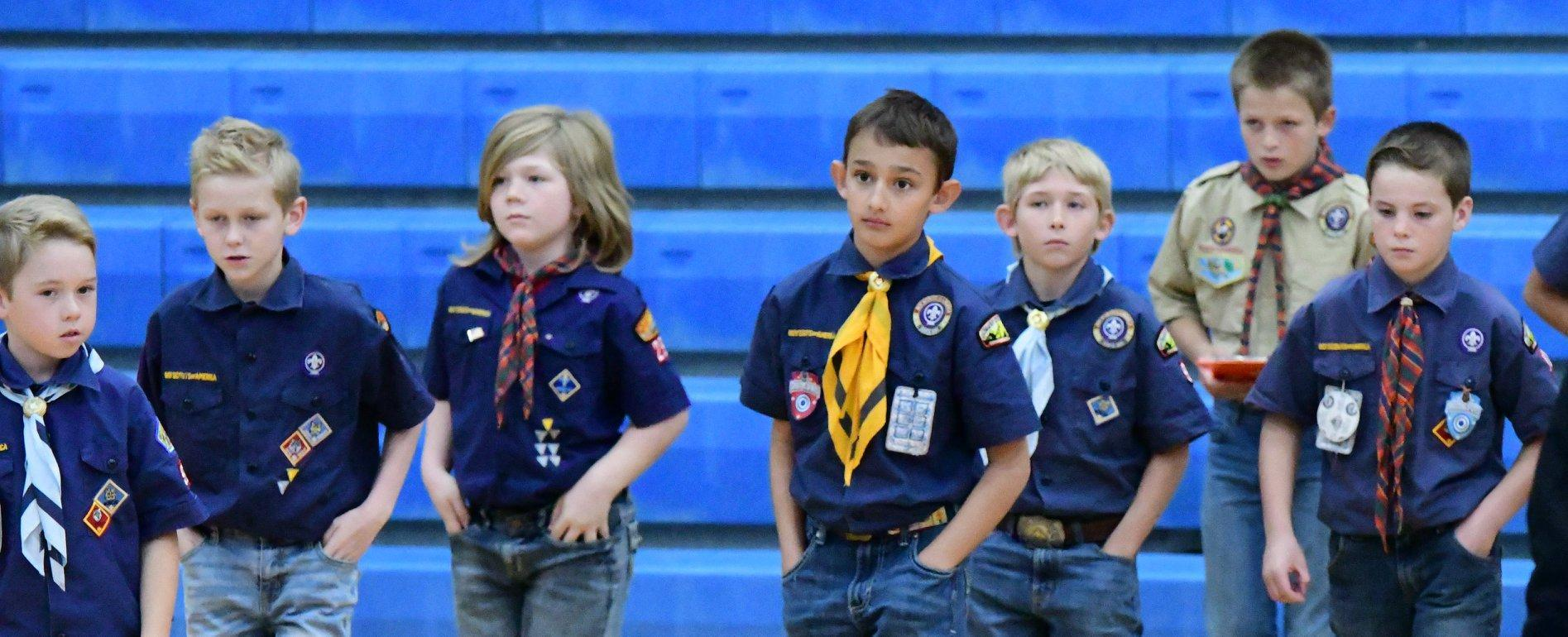 Cub Scouts present the flag