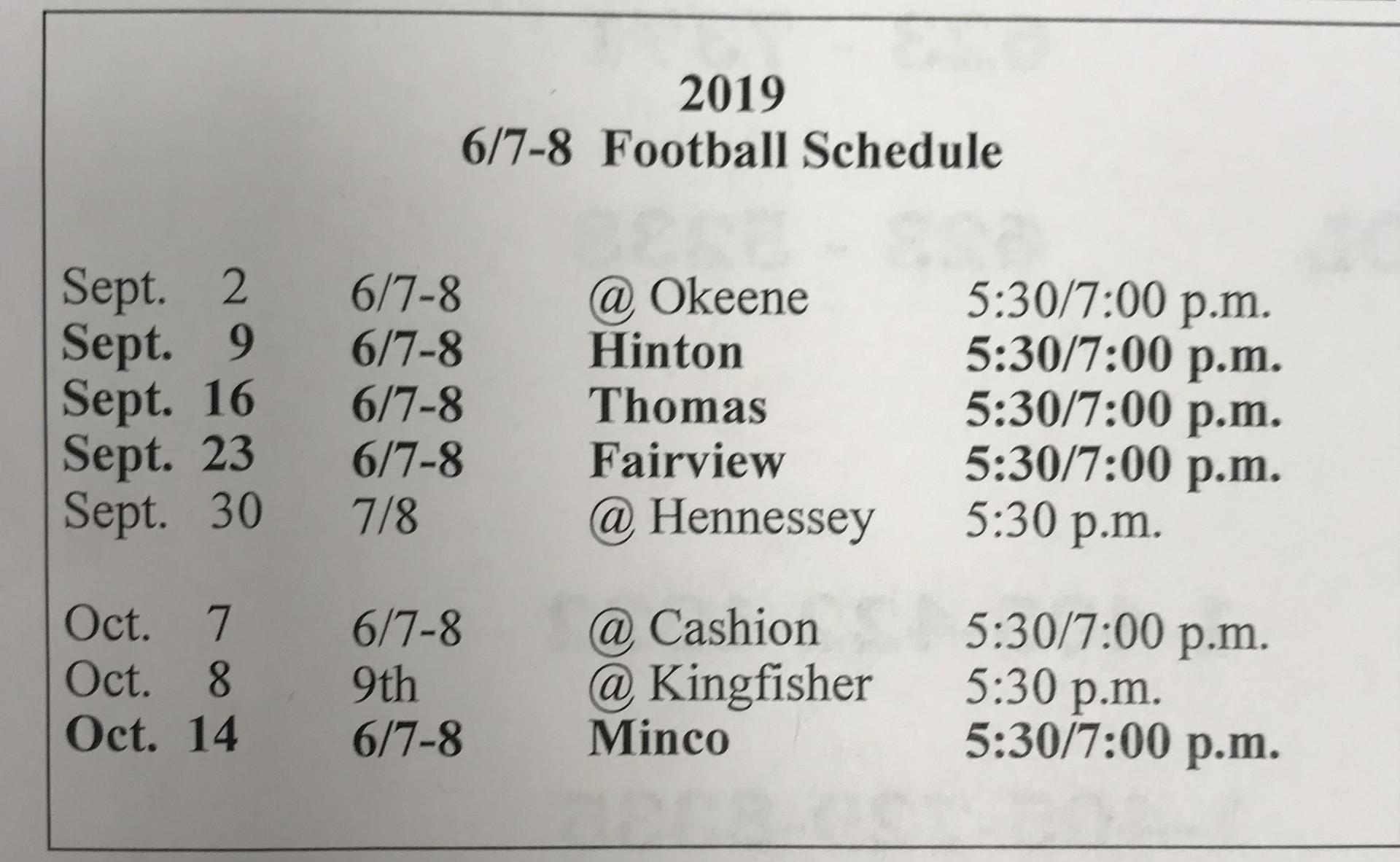 6/7/8th Football
