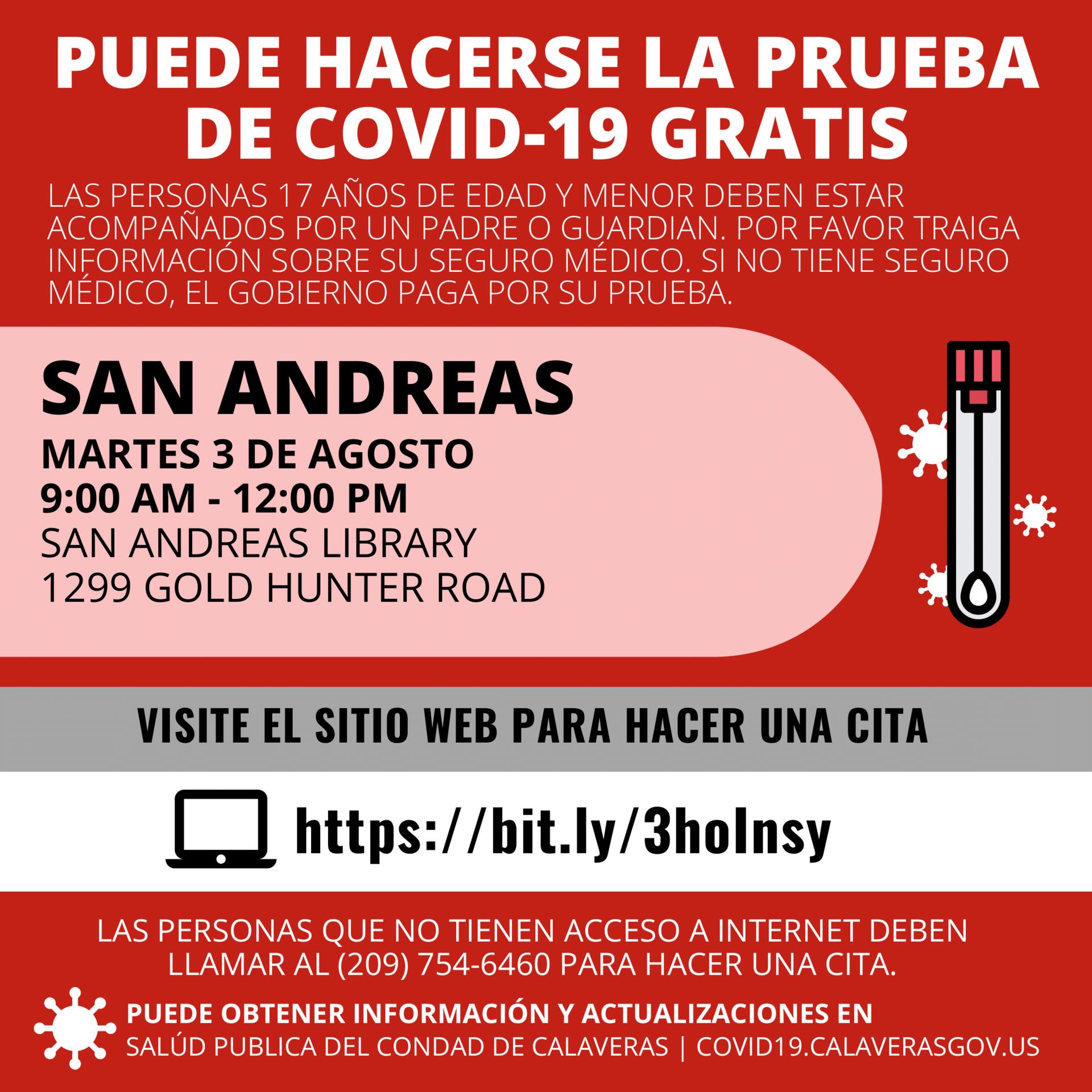 COVID testing info in spanish