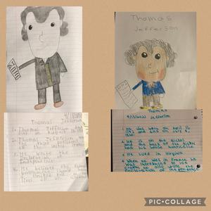 2 colored drawings of Jefferson with write ups