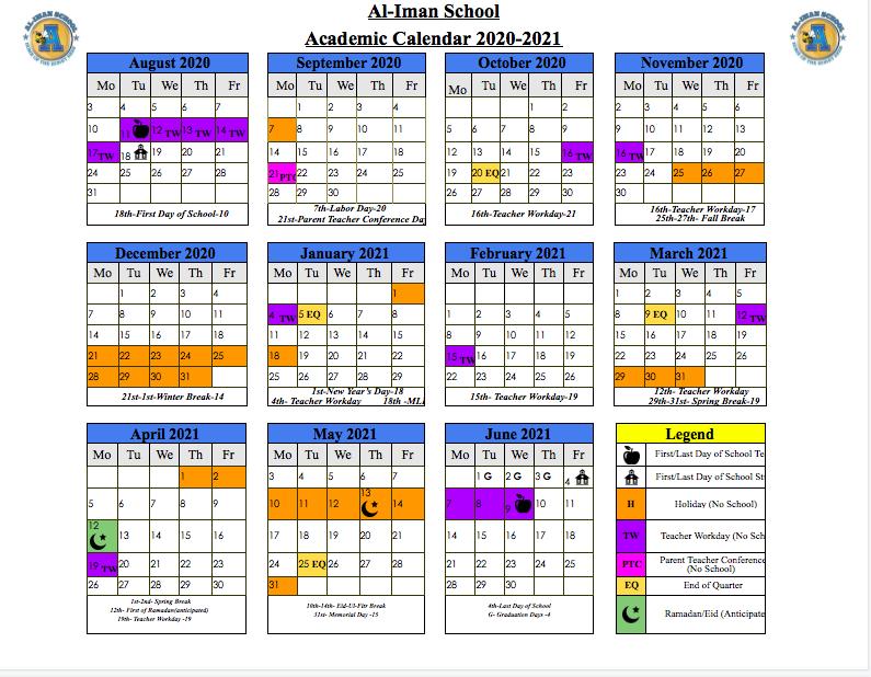 Uncg Academic Calendar Spring 2022.Academic Calendar Student Life Al Iman School
