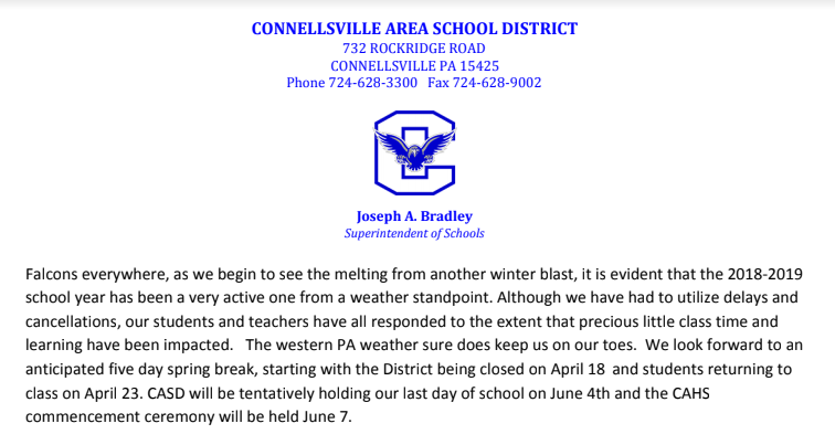 Spring Letter from Superintendent Bradley Featured Photo