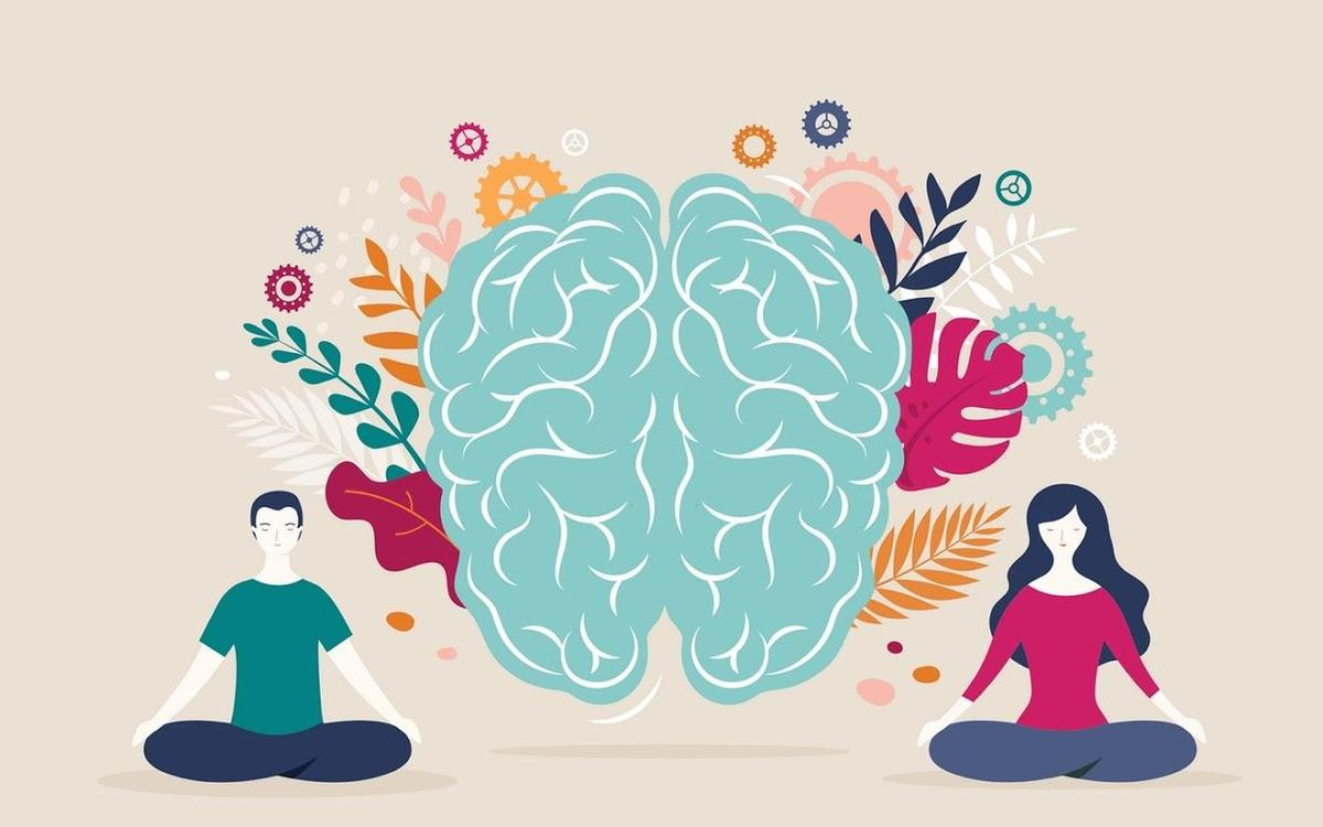 brain and people meditating graphic