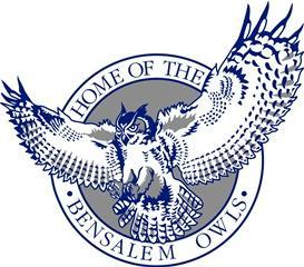 Bensalem High School logo in blue, gray and white. An owl with its wings spread wide