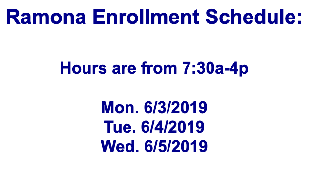 Ramona Enrollment Schedule Featured Photo