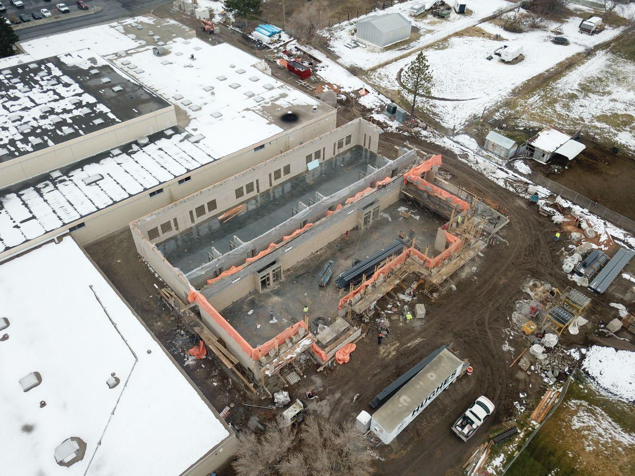 Arial view of building under construction